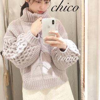 who's who Chico - 最新作❁フーズフーチコ ワッフル袖ケーブルタートルニット