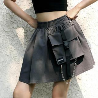 ■Sサイズ ミニスカート デザインポケット チェーン ストリート バックルベルト