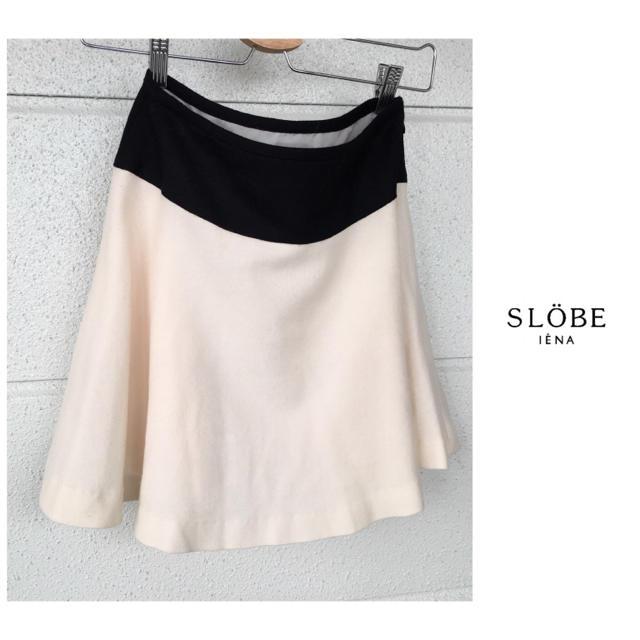 IENA SLOBE(イエナスローブ)のイエナ スローブ サキソニ― 配色 ウール フレアスカート レディースのスカート(ミニスカート)の商品写真