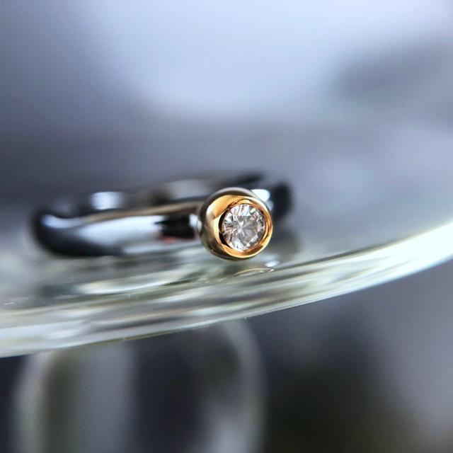 K18 SV925 dia ring -undulations- #9.5 レディースのアクセサリー(リング(指輪))の商品写真
