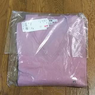 ユニクロ(UNIQLO)のユニクロUNIQLOカシミアVネックニットセーター☆ピンクパープルXS(ニット/セーター)