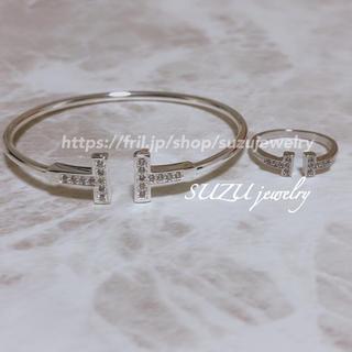 Tiffany & Co. - 大人気❤️ティファニー好き✨T字ワイヤー✨リング&ブレスレット✨ホワイトゴールド