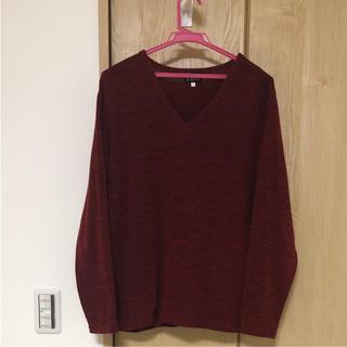 Vネックトップス ボルドー(Tシャツ/カットソー(七分/長袖))
