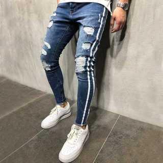 【Lサイズ 】ダメージデニム パンツ メンズ ネイビーブルー 青 紺 (デニム/ジーンズ)