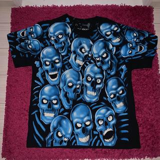 LIQUID BLUE スカル Tシャツ ブルー L レア(Tシャツ/カットソー(半袖/袖なし))