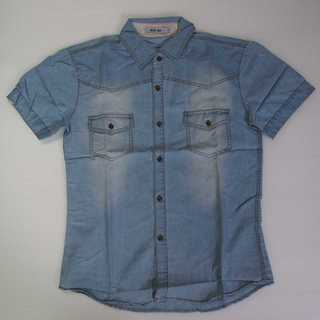 【新品】メンズ シャツ 水色 青 ブルー 半袖 L (T28)(シャツ)