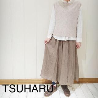 SM2 - TSUHARU チェック織りギャザースカート(モカ)