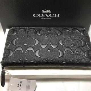 COACH - COACH男女兼用型押しPVCコーティングレザー黒長財布★大変人気のある長財布!
