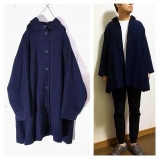 コムデギャルソン(COMME des GARCONS)の超美品 古着屋購入 ビンテージ ビッグシルエット ウール ハーフコート ネイビー(ステンカラーコート)