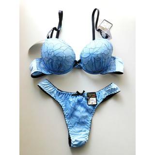 新品♥アンティークブルー刺繍 ブラ&tバックショーツセット A75 盛り 青(ブラ&ショーツセット)
