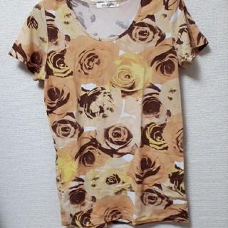 レディース トップス 半袖Tシャツ Mサイズ バラ柄 花柄 オレンジ イエロー(カットソー(半袖/袖なし))