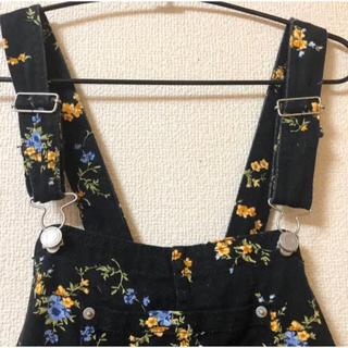 WEGO - 黒×コバナ柄♡オーバーオールスカート