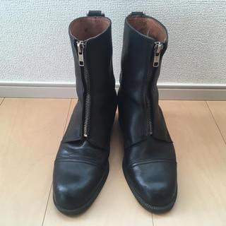 ベネトン(BENETTON)のベネトン 黒ブーツ 23 革 フロントファスナー ショートブーツ ブラック(ブーツ)