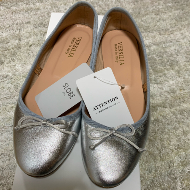 IENA SLOBE(イエナスローブ)のVERSILIA バレーシューズ シルバー 36 レディースの靴/シューズ(バレエシューズ)の商品写真