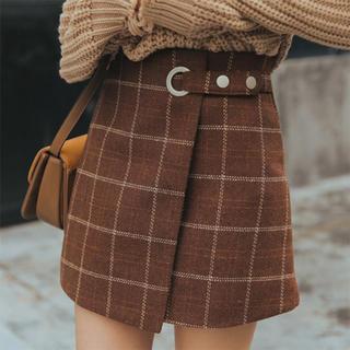 レディース チェック スカート ミニ丈 巻きスカート風 Aライン ブラウン M(ミニスカート)