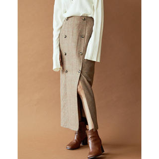 アングリッド(Ungrid)のチェックデザインフロントボタンスカート(ロングスカート)