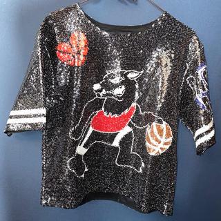 スタイルナンダ(STYLENANDA)のスパンコール バスケットウルフTシャツ 韓国 STYLENANDA(Tシャツ(半袖/袖なし))