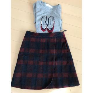 クチュールブローチ(Couture Brooch)のCouture brooch クチュールブローチ 台形スカート36チェック赤×紺(ミニスカート)