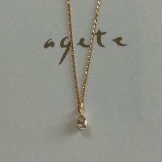 agete - agete アガット k18, 0.1ctダイヤネックレス しずく形