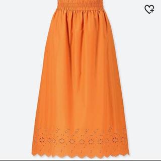 ユニクロ(UNIQLO)のユニクロ ロングスカート オレンジ(ロングスカート)