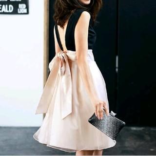 ドレス*バイカラーワンピ(ミディアムドレス)