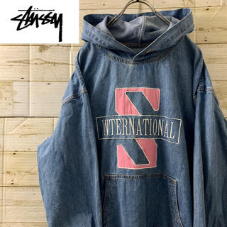 STUSSY - STUSSY◆international hoodie デニムプルパーカー