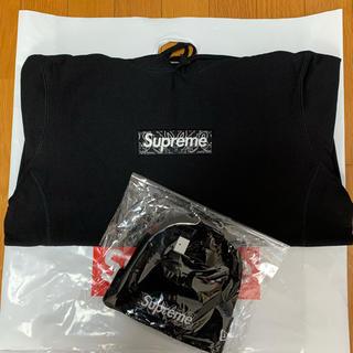 シュプリーム(Supreme)の黒L supreme パーカー&ビーニー セット(パーカー)
