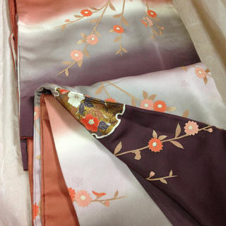 正絹訪問着☆テラコッタ地色にぼかしと雪輪とお花たち(着物)