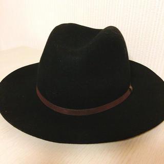 リエンダ(rienda)の【rienda】ウール中折れハット 帽子 (ブラック・新品タグ付き)(ハット)
