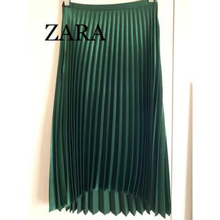 ザラ(ZARA)のZARA サテンプリーツスカート  グリーン XS(ひざ丈スカート)