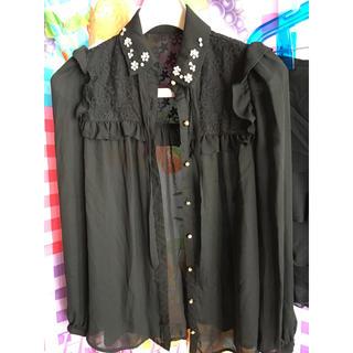 イング(INGNI)のレディース イング セクシーシャツ 黒 刺繍シースルー ブラウス&M deux(シャツ/ブラウス(長袖/七分))