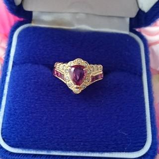 美品 K18 チェリーピンクルビー ダイヤモンド リング 16号(リング(指輪))