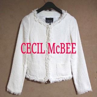 CECIL McBEE - *美品*セシルマクビー ノーカラーツイードジャケット Mサイズ