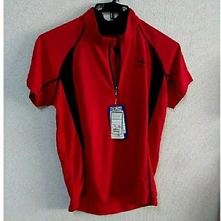 ティゴラ(TIGORA)のランニングシャツ 半袖 ハーフジップ TIGORA 赤(ウェア)