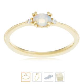 アガット(agete)のagete アガット K18 リング オパール ダイヤ ピンキーリング アーカー(リング(指輪))