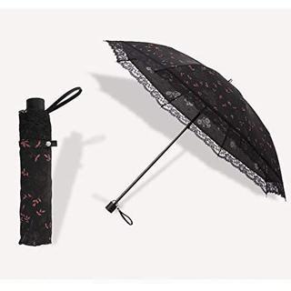 Sotia 日傘 折りたたみ傘 レディース レース 花柄模様 晴雨兼用 ブラック