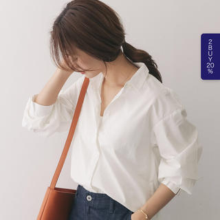ワイドスリーブシャツ 襟抜き オーバーサイズ 白