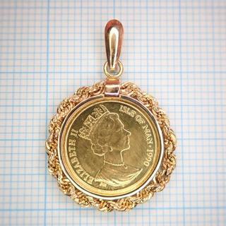 ■■1990 マン島キャット金貨 1/25oz K24 純金 コイン K18金枠