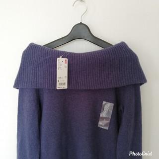 ユニクロ(UNIQLO)のユニクロラムブレンドオフタートルネックセーターパープルSSサイズ(ニット/セーター)