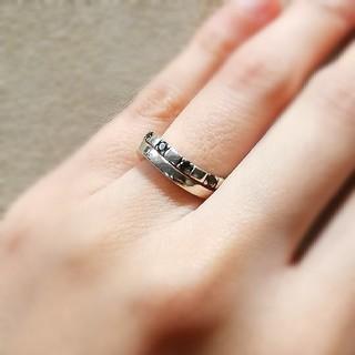 ヨンドシー(4℃)の4℃ シルバー リング スモーキークオーツ ウェーブ 2連(リング(指輪))