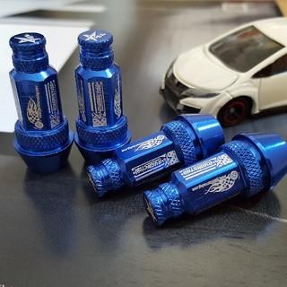 新品 RYANSTARRACING ナット型 ブルー エアバルブキャップ 4個