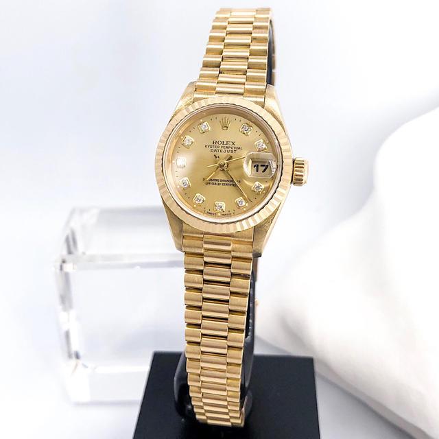 ピアジェ 時計 高い 、 ROLEX - 【保証書付/仕上済】ロレックス 10P 新ダイヤ 金無垢 レディース 腕時計の通販 by LMC