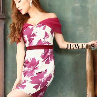 ジュエルズ(JEWELS)の新品未使用 キャバドレス ミニドレス オフショル フラワープリント タイト(ナイトドレス)
