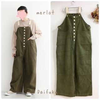 merlot - 【新品】merlot 配色ボタンコーデュロイサロペット
