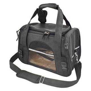 ペット用キャリーバッグ 大きなメッシュ窓でお出かけも安心 ブラック R1087