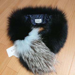 フルラ(Furla)の新品 フルラ FURLA フォックスファー ティペット ファーマフラー ブラック(マフラー/ショール)