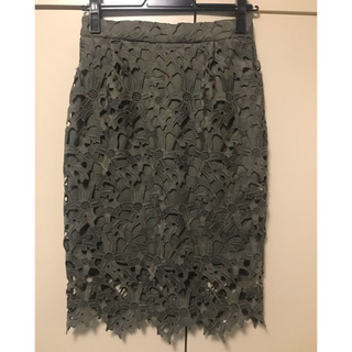 nano・universe - ナノユニバース 花柄レース スカート カーキ 38 Mサイズ