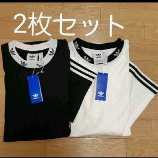 adidas - 2枚組 リブ柄 ロゴTシャツ adidas originals