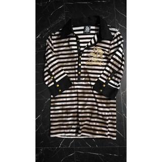 エルエーゲート(LA GATE)のLA GATEゴージャスラメ7分袖ボーダーポロシャツ/スパンコールラインストーン(ポロシャツ)