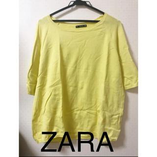 ザラ(ZARA)のZARA ニット レディース 半袖 七分袖 黄色 イエロー(ニット/セーター)